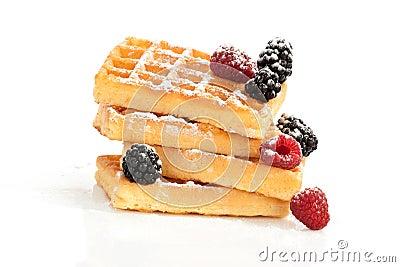 Delicious waffle on white.