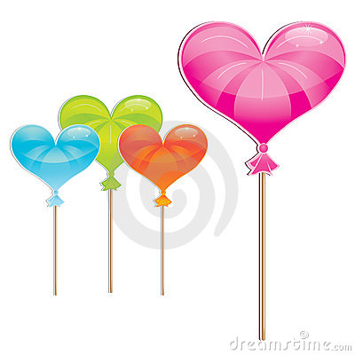 Delicious, wrapped heart-shaped lollipop collectio