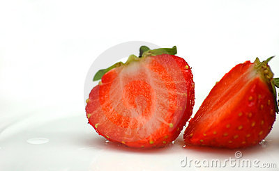 Deliciously red strawberry cut into half