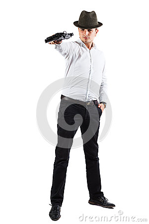 Delighted assasin with gun