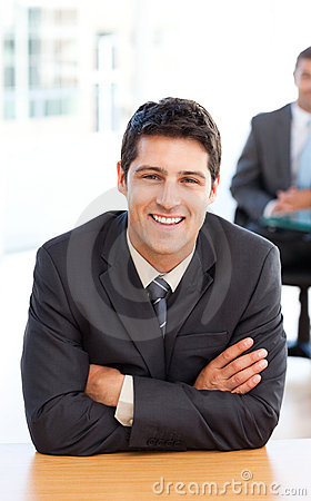 Delighted businessman in the foreground