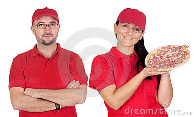 Deliver boy and girl with pizza