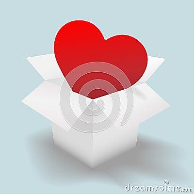 Deliver an open heart in a white shipping carton