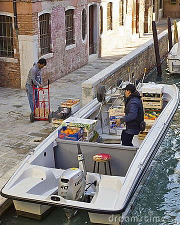 Deliveries in Venice Editorial Stock Image