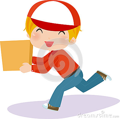 Delivery boy with box