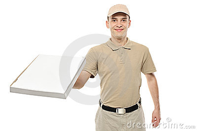 A delivery boy bringing a cardboard pizza box