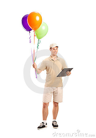 A Delivery Boy Delivering Balloons Stock Images - Image: 20449374