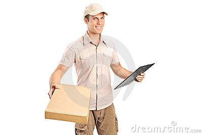 Delivery boy delivering a packet