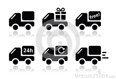 Delivery car, shipping  icons set