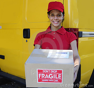 Delivery courier  delivering postal packages