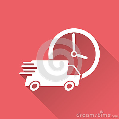 Delivery 24h truck with clock vector illustration. 24 hours fast delivery service shipping icon. Vector Illustration
