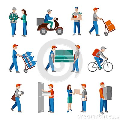 Free Delivery Icons Flat Royalty Free Stock Photography - 45607407