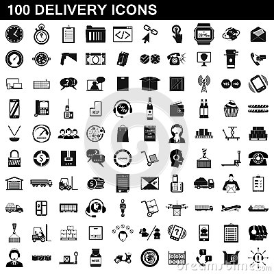 100 delivery icons set, simple style Vector Illustration