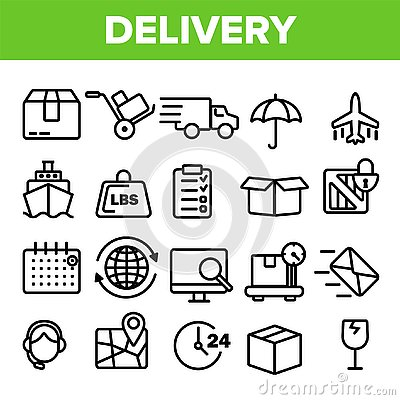 Delivery Line Icon Set Vector. Fast Transportation Service. Delivery 24 Logistic Support Icons. Express Order. Thin Vector Illustration