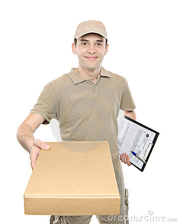 A delivery man bringing a package
