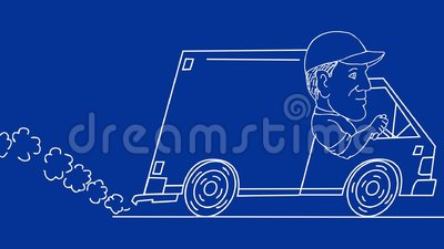 Delivery Man Driving Van Drawing 2d Animation Stock Video Video Of