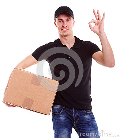 Free Delivery Man Holding A Cardboard Box Royalty Free Stock Image - 53878856