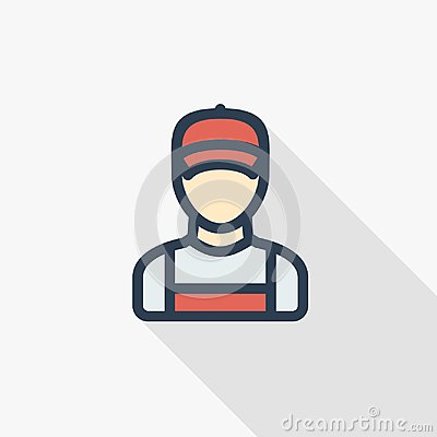 Free Delivery Man In Red Uniform Thin Line Flat Color Icon. Linear Vector Symbol. Colorful Long Shadow Design. Stock Photo - 109034910