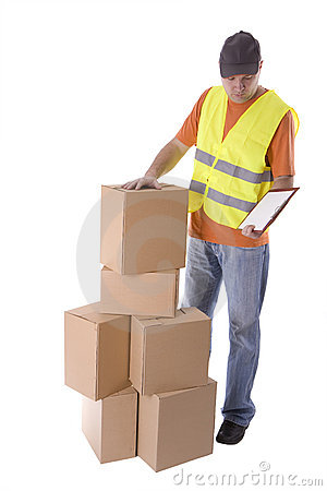 Delivery man in reflective waistcoat with clipboar