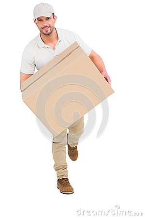 Free Delivery Man With Cardboard Box Running Stock Photos - 50475063