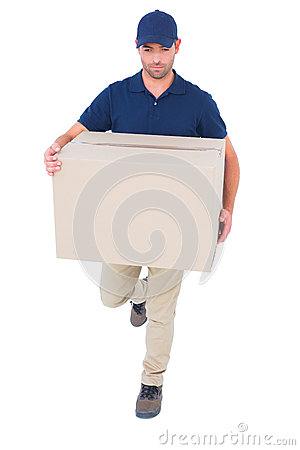 Free Delivery Man With Cardboard Box Running On White Background Royalty Free Stock Images - 50477709
