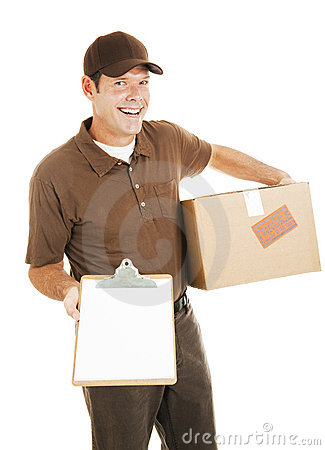 Free Delivery Man With Clipboard Royalty Free Stock Images - 11654449