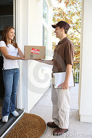 Free Delivery Man With Package Stock Image - 10137941