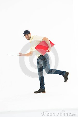 Free Delivery Man With Red Box Running On White Background Stock Images - 49235054