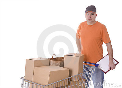 Delivery men with clipboard and boxes in shopping
