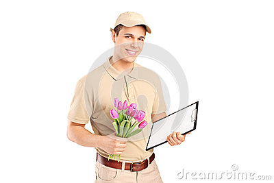 Delivery person holding a clipboard and flowers