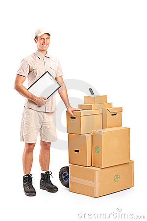 Delivery person holding a clipboard and hand truck