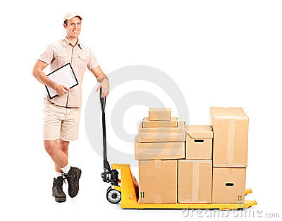 Delivery person next to fork pallet truck