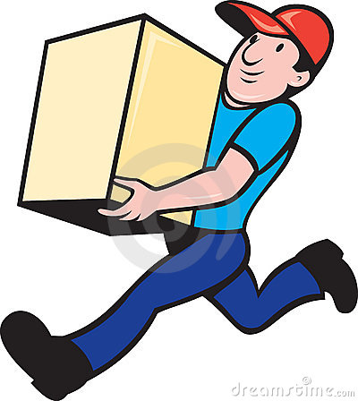 Free Delivery Person Worker Running Delivering Box Royalty Free Stock Images - 20282319