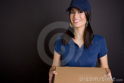 Vibrant Woman Operates Package Delivery Service