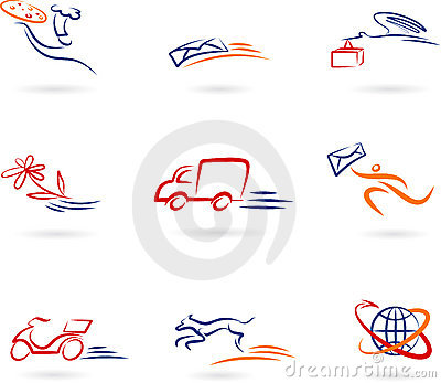 Delivery and transport concept icon set