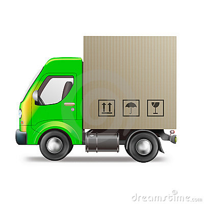 Free Delivery Truck Cardboard Box Package Shipping Stock Photos - 19236973