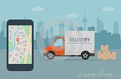 Delivery van and mobile phone with map on city background. Vector Illustration