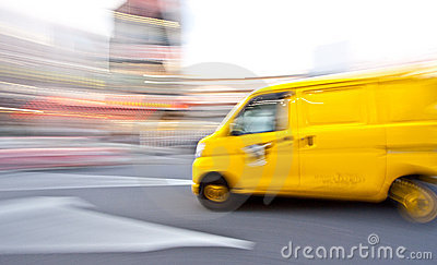 Delivery van motion blur