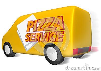 Delivery van pizza service