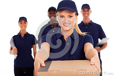 Delivery woman parcel