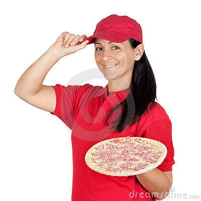 Delivery woman of pizza