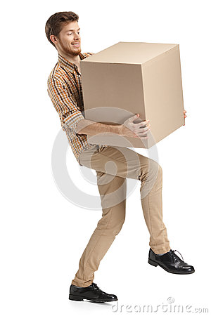 Free Deliveryman Hardly Carries The Box Stock Image - 29405411