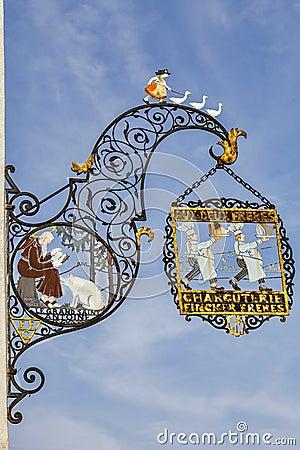 Della macelleria tradizionale firma dentro Colmar Immagine Editoriale