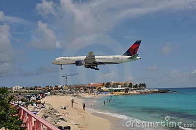 Delta airplane landing in Saint Maarten Editorial Image