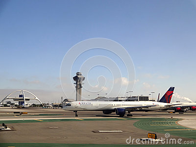 Delta Plane sits on Runway at LAX Editorial Photo
