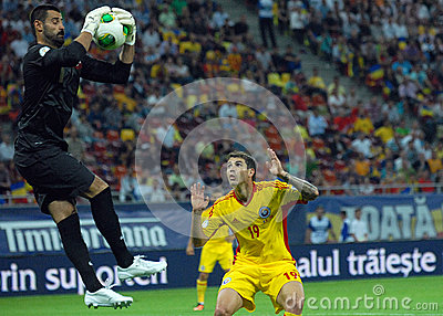Demirel Volkan and Bogdan Stancu players in Romania-Turkey World Cup Qualifier Game Editorial Stock Image