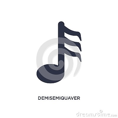 demisemiquaver icon on white background. Simple element illustration from music and media concept Vector Illustration