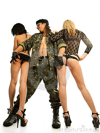 Demobilized man with two sexy women