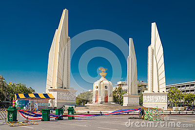 Democracy Monument Thailand immediately after the demonstrations and riots in January, 2014