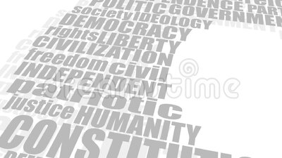 Democracy tags cloud concept. Word cloud with words related to politics, government, parliamentary democracy and political life. Flag of the Netherlands stock illustration